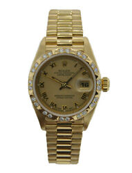 ROLEX OYSTER PERPETUAL LADIES 26MM DATEJUST 18KT YELLOW GOLD WITH FACTORY DIA...