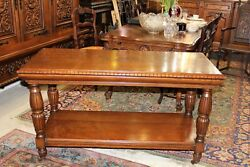 English Antique Solid Oak Serving Table / Sofa Table With Caster