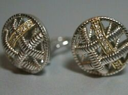 Retired And Rare Judith Ripka 18k Gold Diamonds And Sterling Silver Earrings