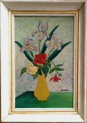 Antique Oil Painting By Elisée Maclet 1881 - 1962 The Yellow Vase C1925 Signed