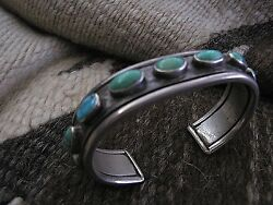 Old Heavy Ingot Silver And Turquoise Navajo Row Bracelet.made 4 Personal Use....
