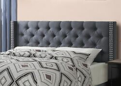 1pc Bedroom Furniture Blue Grey Full Size Bed Tufted Hb Wingback Relax Bed