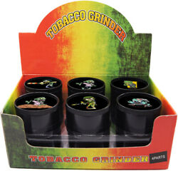 12 Pack 2 Aluminum Grinder 3 Pc Tobacco Herb Spice Crusher Zombie Black Color