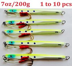 1-10 Pcs Speed Jigs 7oz/200g Chartreuse Vertical Knife Butterfly Saltwater Lures