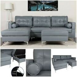Gray Leather Upholstered Tufted Back Sectional Left Side Face Chaise Ottoman