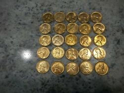 Lincoln 1934 P 25 Coins 1/2 Roll Red Bu+ Unc Super Nice