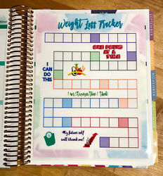 Weight Loss Tracker Diet Dashboard Insert For Use With Erin Condren Life Planner