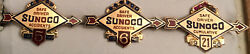 Set Of 3 10k Sunoco Safe Driver No Accident Pins Gemstones Pearl 1940 1941 1958