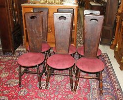 Set Of 6 English Antique Walnut Wooden Arts And Crafts Living Room Chairs