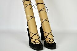 Kenneth Cole Stacy Lace-up Black Sandals Gladiator Style Size 8 1/2 Well Loved