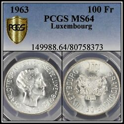 1963 Silver Luxembourg 100 Francs Pcgs Ms64 Uncirculated Bu Unc Low Mintage 50k
