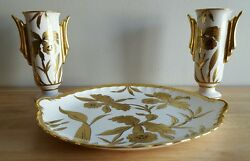 Stouffer Studio Vintage Artist Signed Orchid Large Plate And 2 Vases