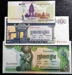 Cambodia 100 Riels And 1973 500 Riels Banknote Vf 3pcs+free 1 B.noted4008