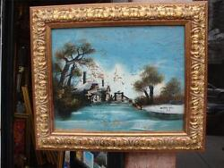 19th C Reverse Glass Winter Snow Landscape Painting Signed A B Watermill