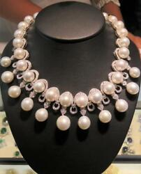 HOLIDAY CLEARA!$120000 RARE 18KT SOUTH SEA PEARL DIAMOND FRINGE STRAND NECKLACE