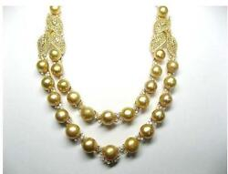 $125000 RARE IMPORTANT 18KT LRG SOUTH SEA GOLDEN PEARL YELLOW DIAMOND NECKLACE!