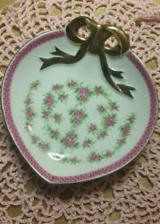Vintage Lefton China Hand Painted Heart Shaped Dish W/ Lace Doily - Freeshipping