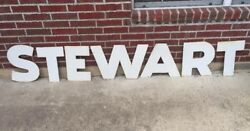 15 Porcelain Stewart Gas Service Station Grocery Cleaners Sign Letters