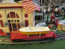 Lionel Post War 6801-50 Red Flat Car With Yellow And White Boat Vg Cond. 1958-60