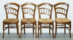 WILLIAM MORRIS LIBERTY LONDON SUSSEX RUSH SEAT SET OF FOUR WALNUT DINING CHAIRS