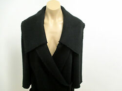 DOLCE&GABBANA Black Knit Sweater Coat w Large Square Collar & Tie Closure - 42