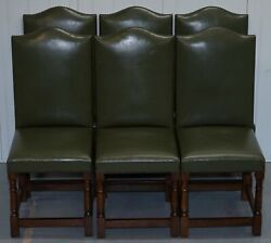 NICE SET OF SIX EDWARDIAN ENGLISH OAK AND GREEN LEATHER HIGH BACK DINING CHAIRS