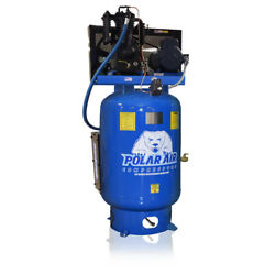 5 Hp 3 Phase 230v 2 Stage 120 Gallon Tank Vertical Air Compressor Quiet