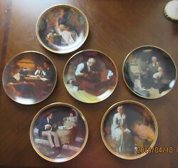 Lot Of 6 Norman Rockwell Collector Plates With Certificate Of Authenticty