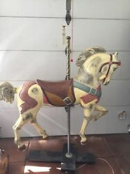 Vintage Restored Hand Carved Wooden Carousel Horse 1940and039s