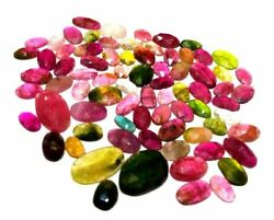 Natural Stone Multi Tourmaline Faceted Slice Loose Gemstones Weight 77.85 Carats