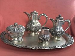 Yogjakarta Silver,indonesian Silver 5 Piece Coffee Set And Tray 2170 Gms.