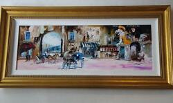 Magnificent Framed Org European Grand French Street Painting Phachoshvili Israel