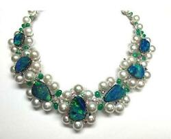 LAST CALL! $110K 18KT SOUTH SEA PEARL BLK OPAL DIAMOND EMERALD SAPPHIRE NECKLACE