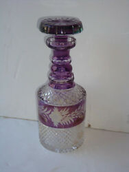 Best Offers Rare 19thc Estate Cut Crystal Purple Wine Decanter With Bottle Top