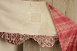 Valance Red Ticking Furnishing Fabric + Purple Alsace Toile C1830 Antique French