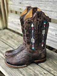 Roper Womenand039s Waxy Brown Arrow Wide Calf Square Toe Western Boots 8022-1426