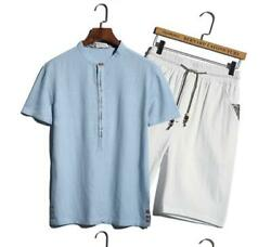 Fashin Summer T-shirt Shorts Menand039s Suit Linen Comfort Teenager Wear Chinese