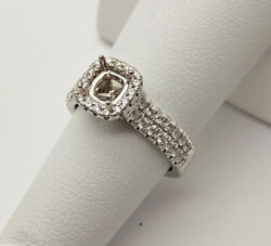 Martin Flyer .50ctw Diamonds And 14k White Gold Halo Engagement Ring Setting