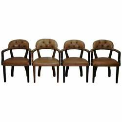 Four Rrp Andpound9200 Brown Leather House Of Chesterfield Court Office Dining Chairs