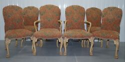 RARE SET OF 8 ORIGINAL WALNUT ART DECO DINING CHAIRS WITH LION HAIRY PAW FEET