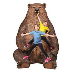 Design Toscano Sitting Pretty Oversized Brown Bear Statue with Paw Seat