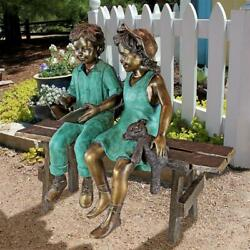 Design Toscano Read to Me Boy and Girl on BenchCast Bronze Garden Statue