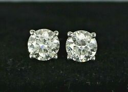 4200 14k White Gold 1.03ct H-i I1 Round Solitaire Stud Butterfly Back Earrings