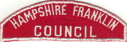 Boy Scout Rws Hampshire Franklin / Council Red And White Full Strip