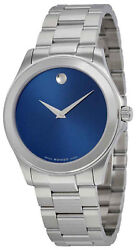 Movado 0606116 Junior Sport Blue Dial Stainless Steel Menand039s Watch