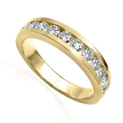 Twelve Channel Set Diamond Wedding Band Ring In 14k Solid Yellow Gold R1881