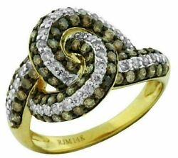 1.39ct White And Chocolate Fancy Diamond 14kt Yellow Gold Multi Row Love Knot Ring