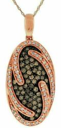.75ct White And Chocolate Fancy Diamond 14k Rose Gold 3d Oval Cluster Fun Pendant