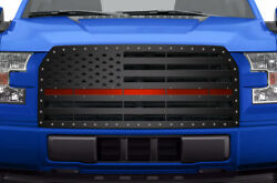 Custom Steel American Flag W/ Red Acrylic Ul Grille Kit For 2015-2017 Ford F-150