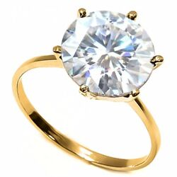 1.07 Ct 7mm Genuine Diamond Moissanite Solitaire 14kt Solid Gold Engagement Ring